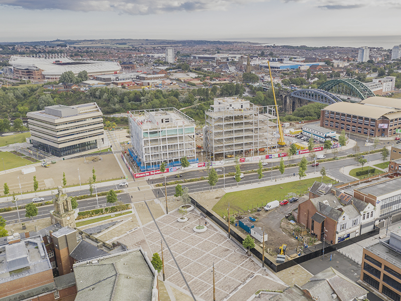 Sunderland City Hall Vaux Riverside Council Office Keel Square Under Construction Aerial S