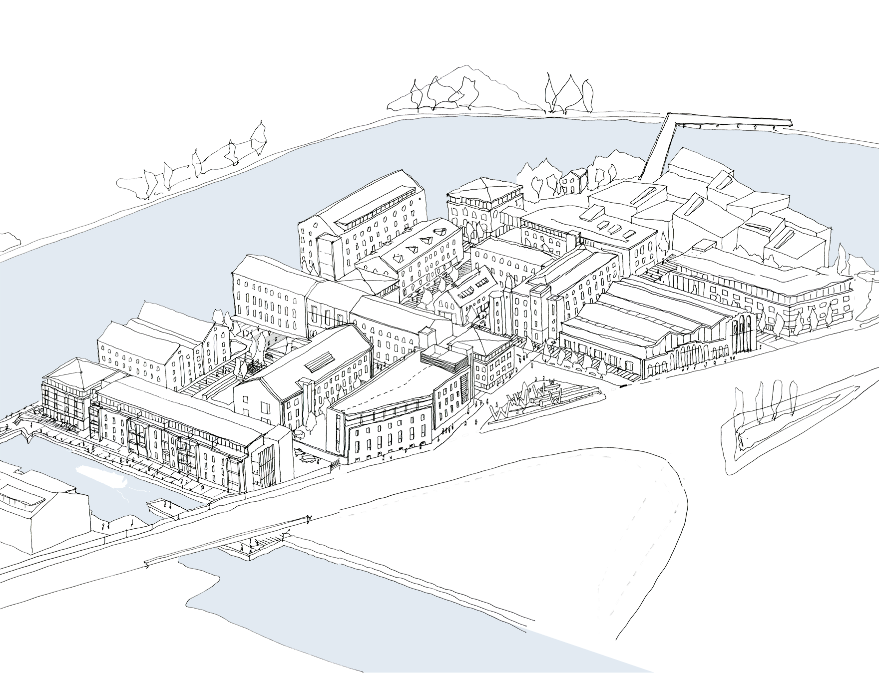 Wakefield Waterfront Masterplan Sketch Overview L