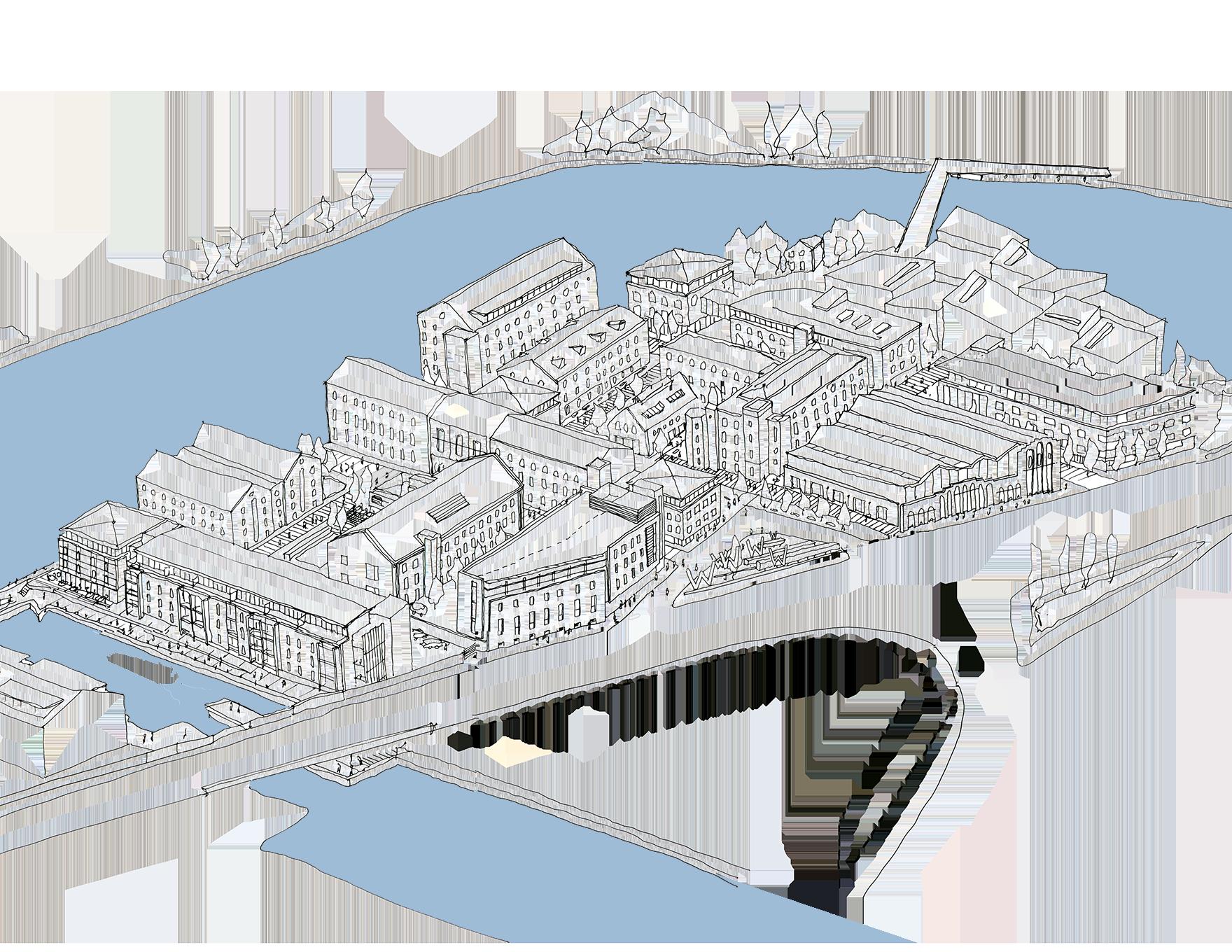 Wakefield Waterfront Masterplan Sketch Overview L