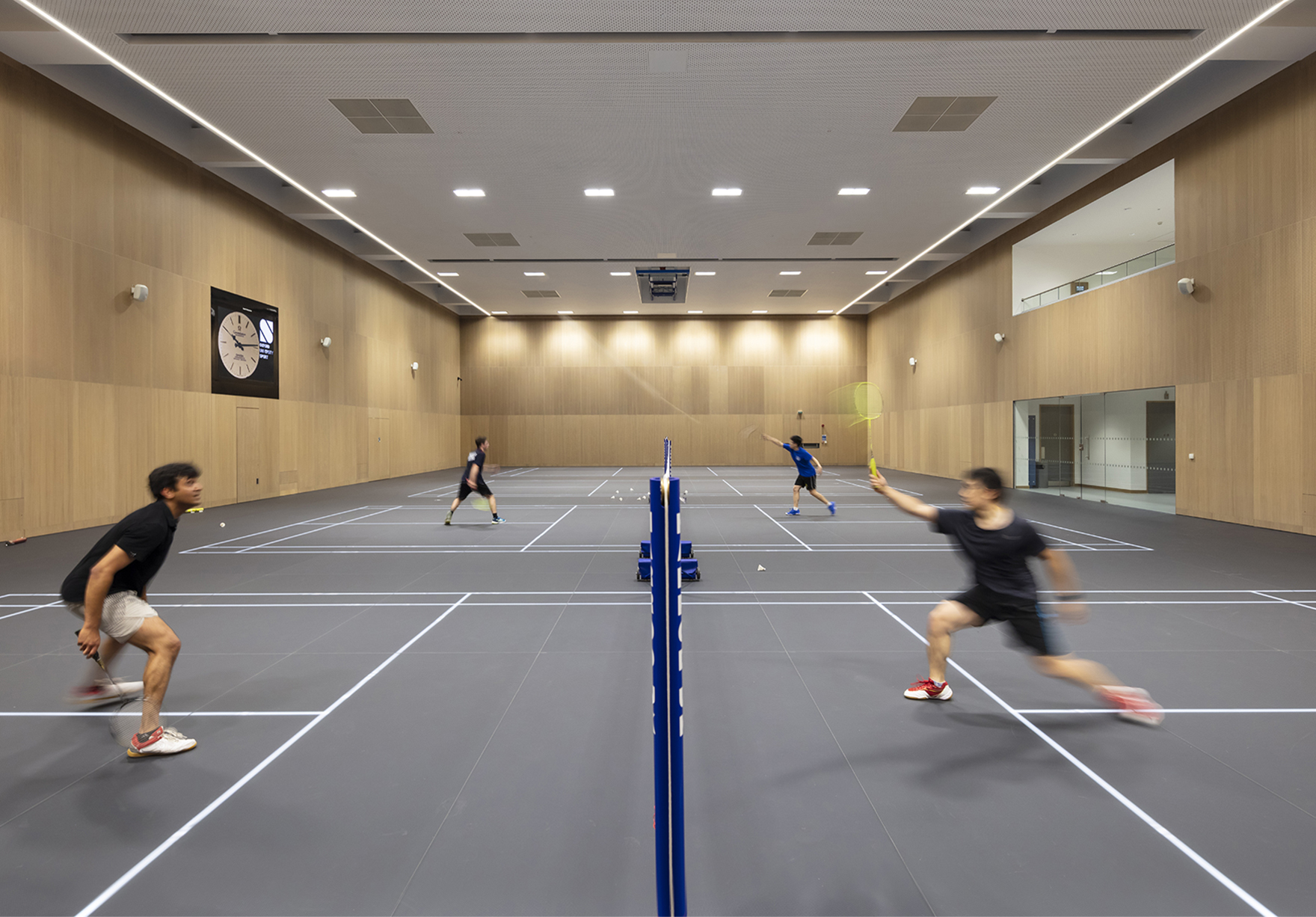 Acer Nethercott Sports Hall Oxford University Sport Led Glass Floor Badminton Lh