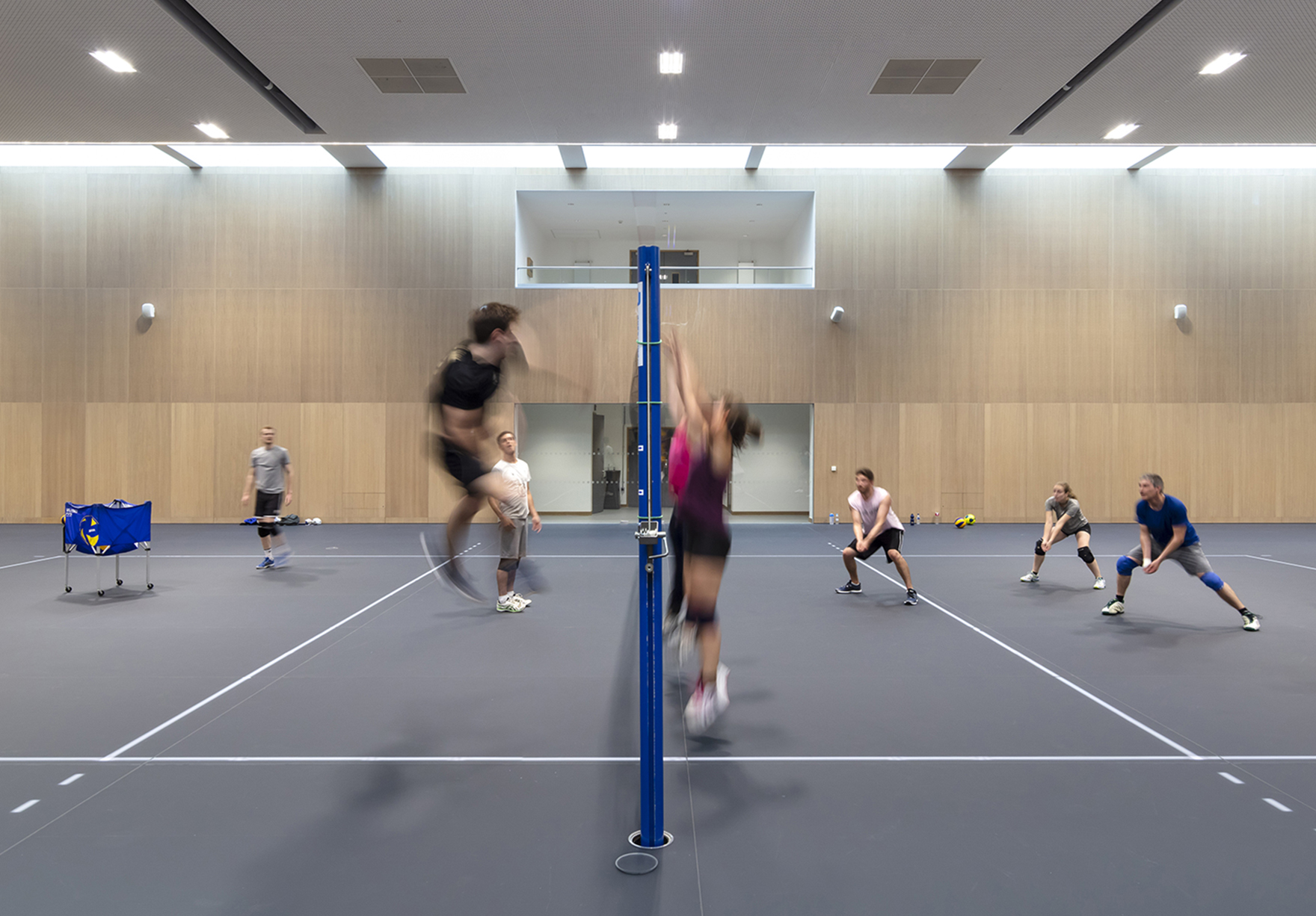 Acer Nethercott Sports Hall Oxford University Sport Led Glass Floor Volleyball Full Length Lh