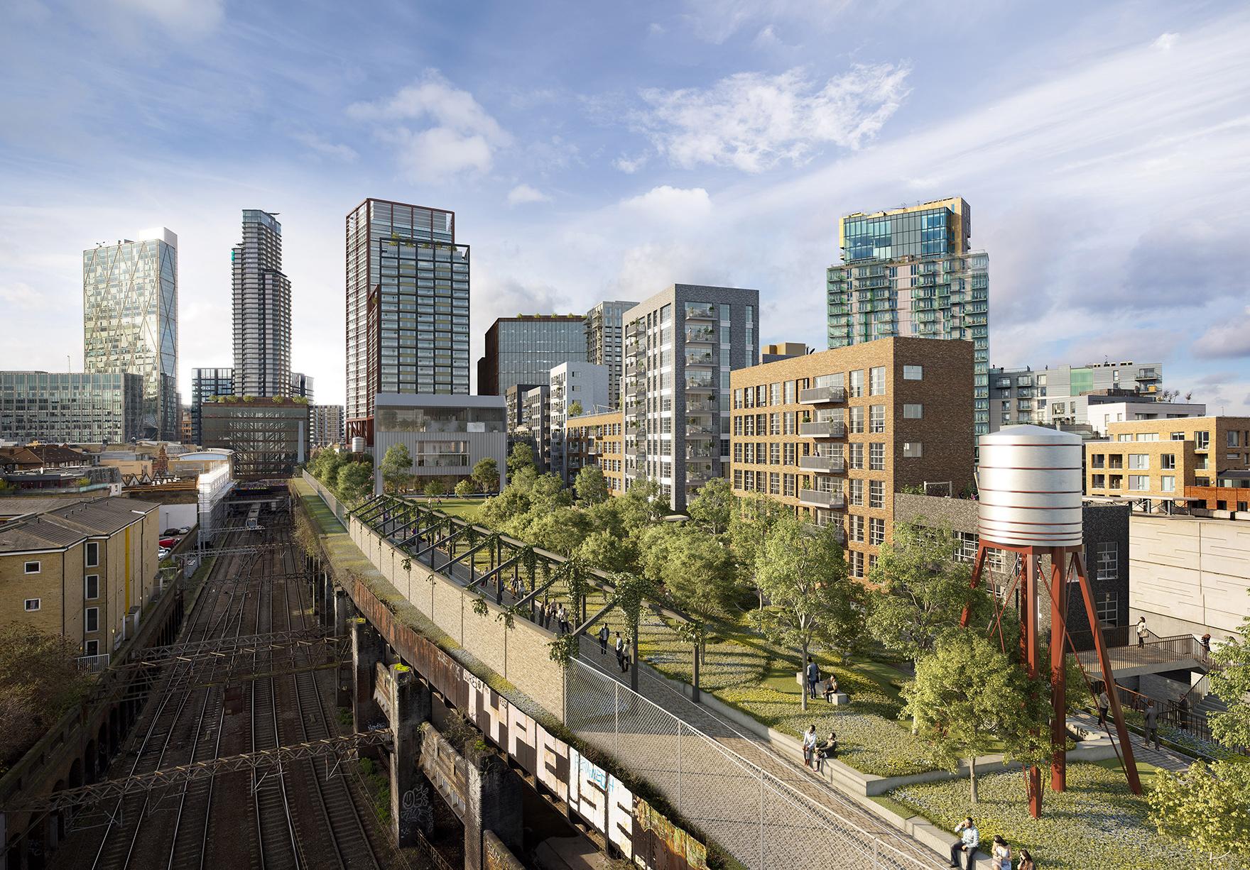 Bishopsgate Goodsyard Shoreditch London Mixed Use Masterplan Aerial Visual Lh