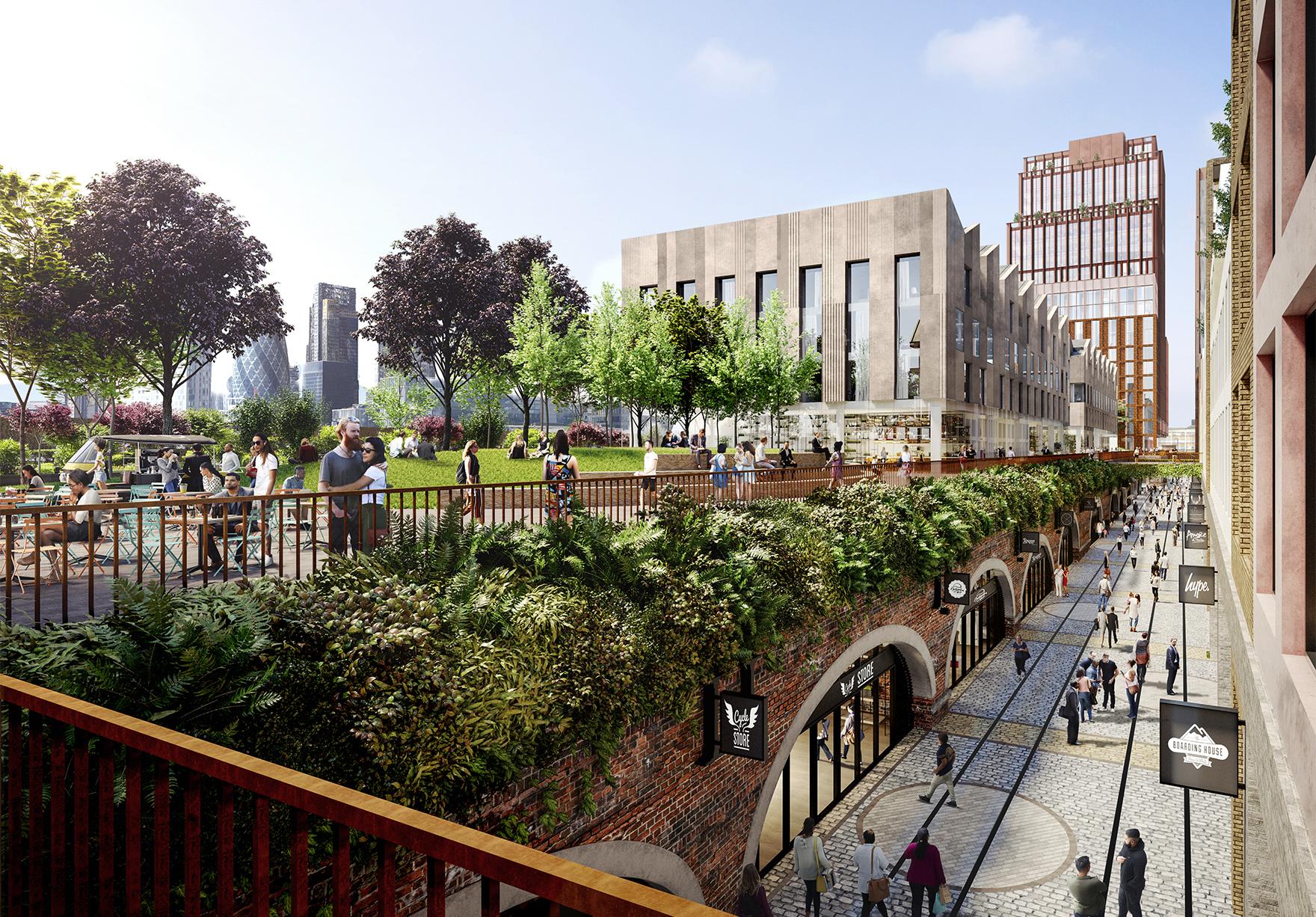 Bishopsgate Goodsyard Shoreditch London Mixed Use Masterplan Arches In Daylight Lh