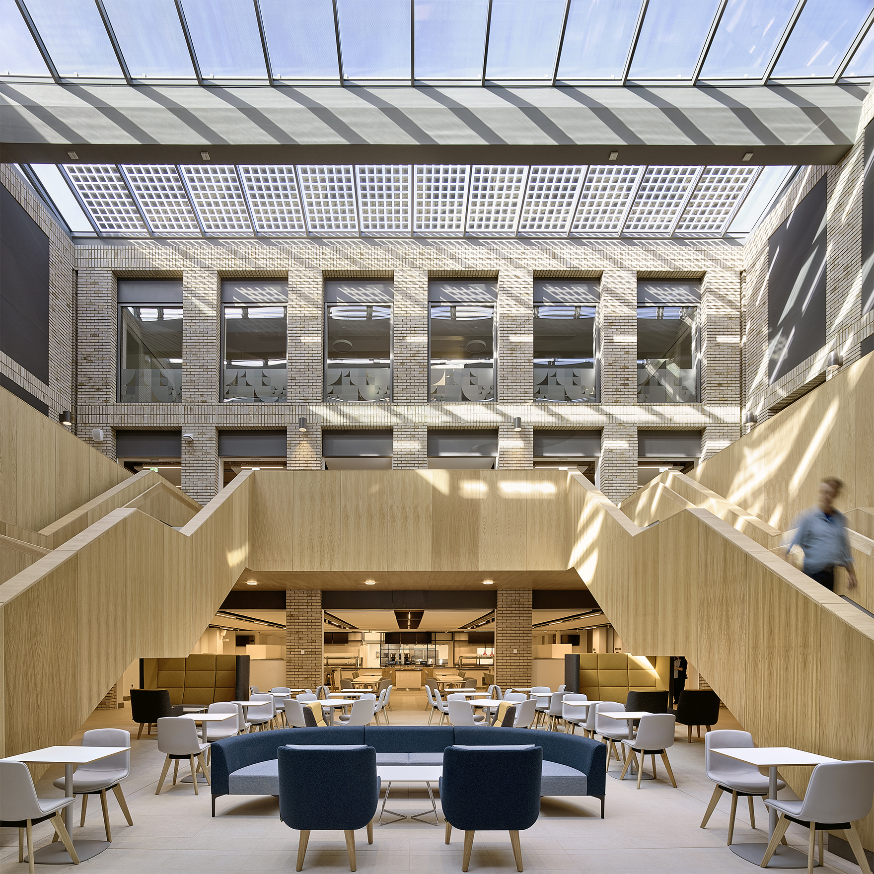 Durham University Lower Mountjoy Central Atrium Stair And Rooflight 2 Ls