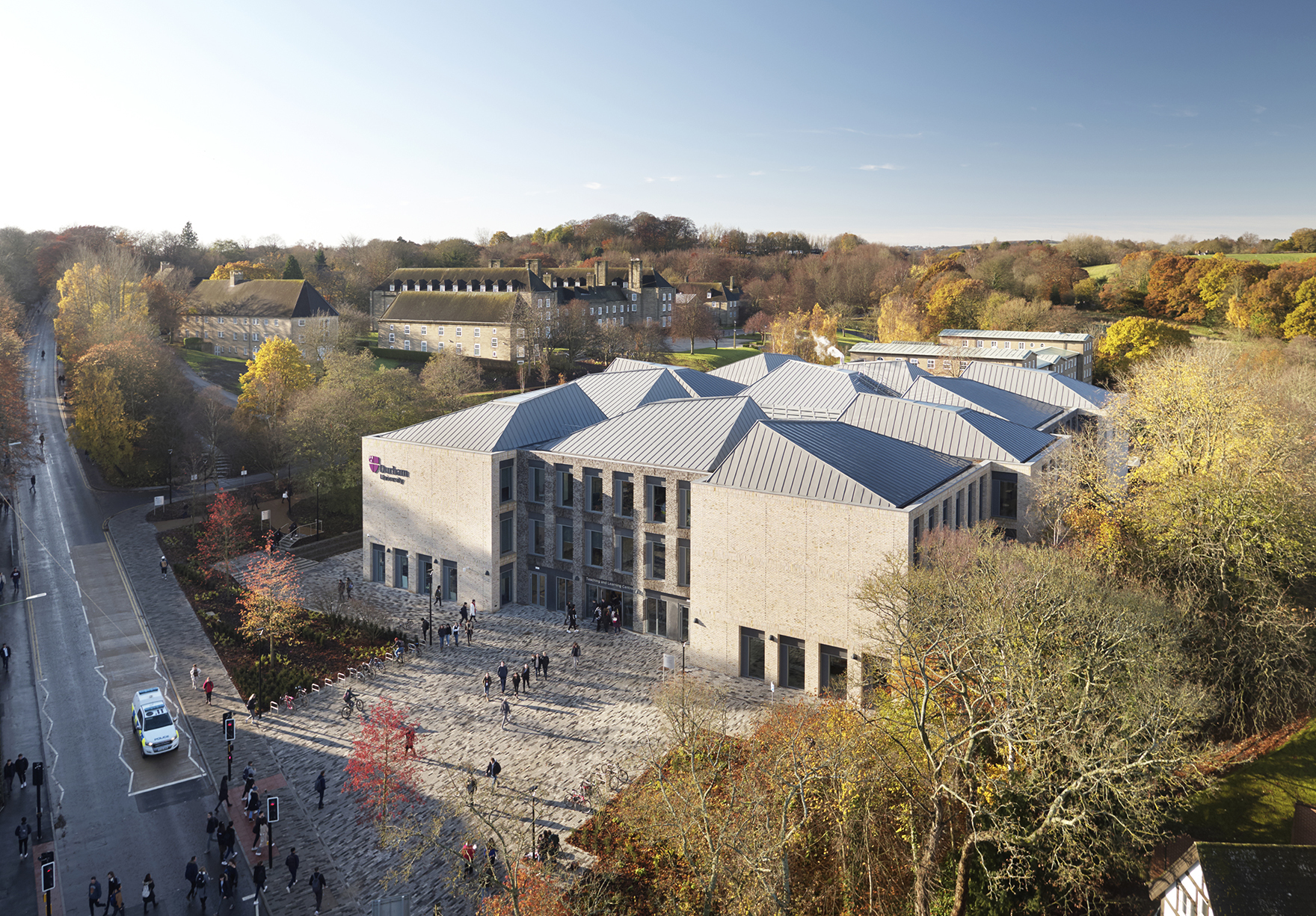 Durham University Lower Mountyjoy Drone Aerial Of Entrance And Modular Roof Lh