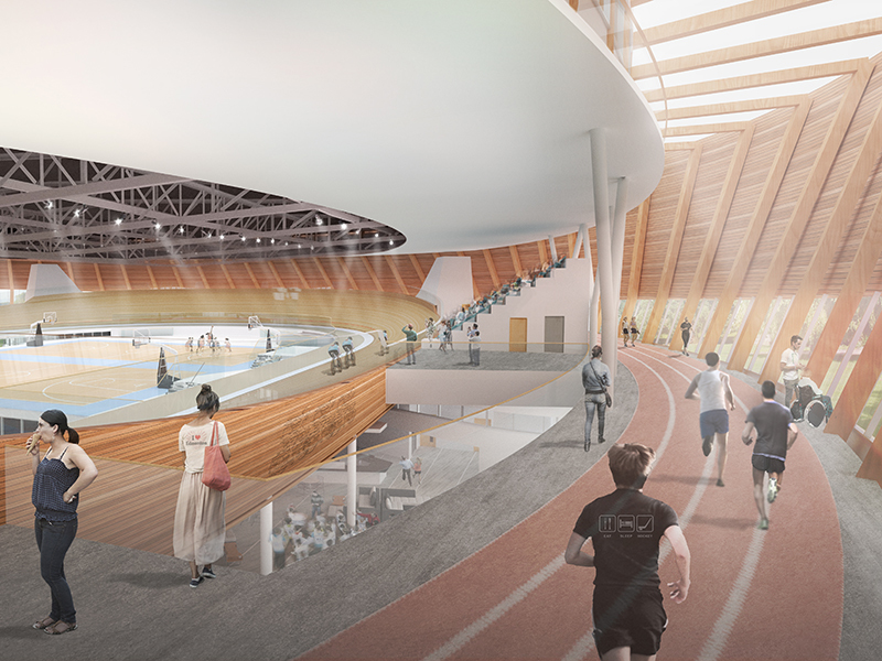 Edmonton Community Velodrome Internal Cgi Visualisation Of Running Track Surrounding Cycling Track L