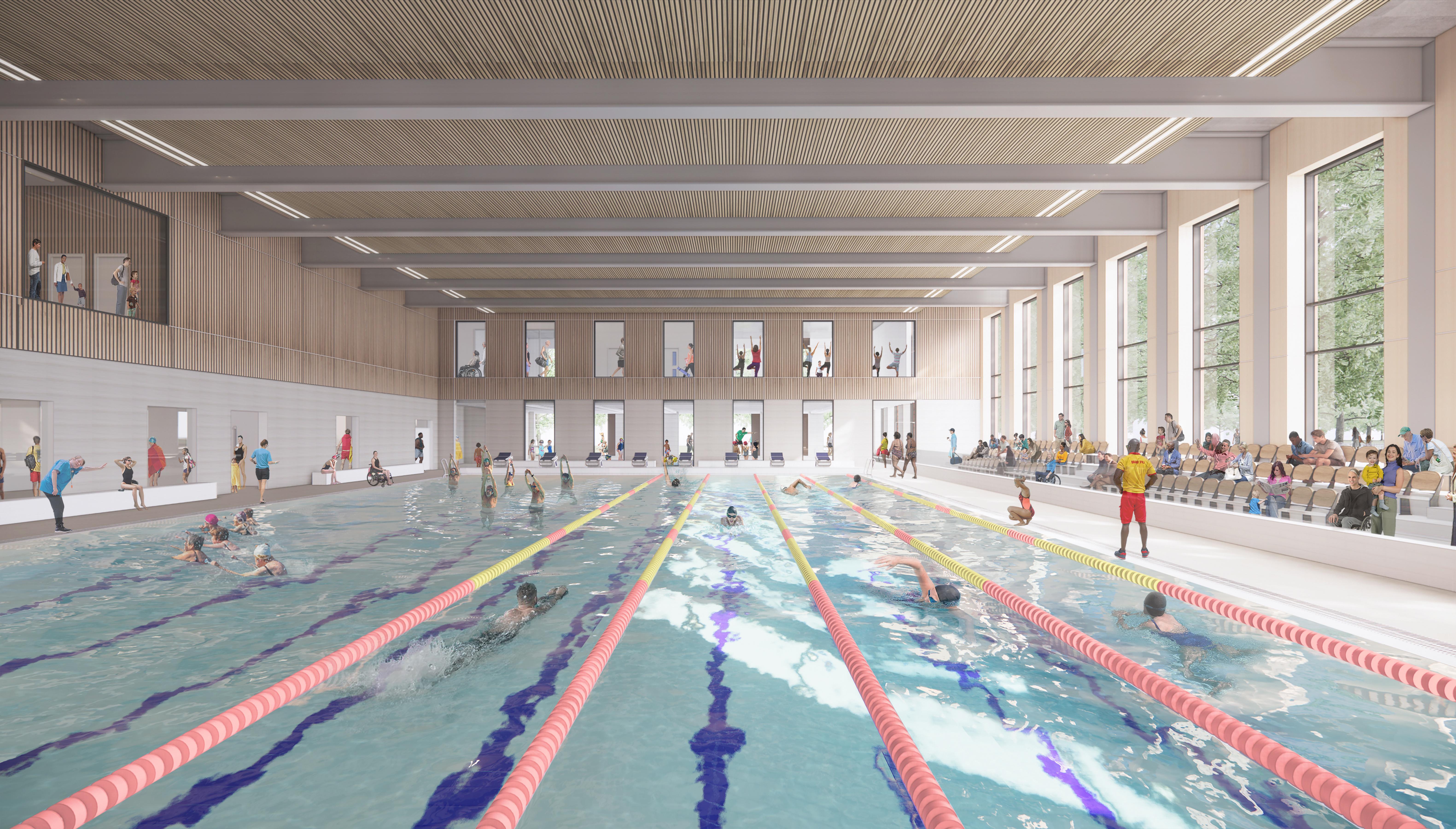 Kingston Leisure Centre Main Pool Hall Cgi Visualisation Lhw