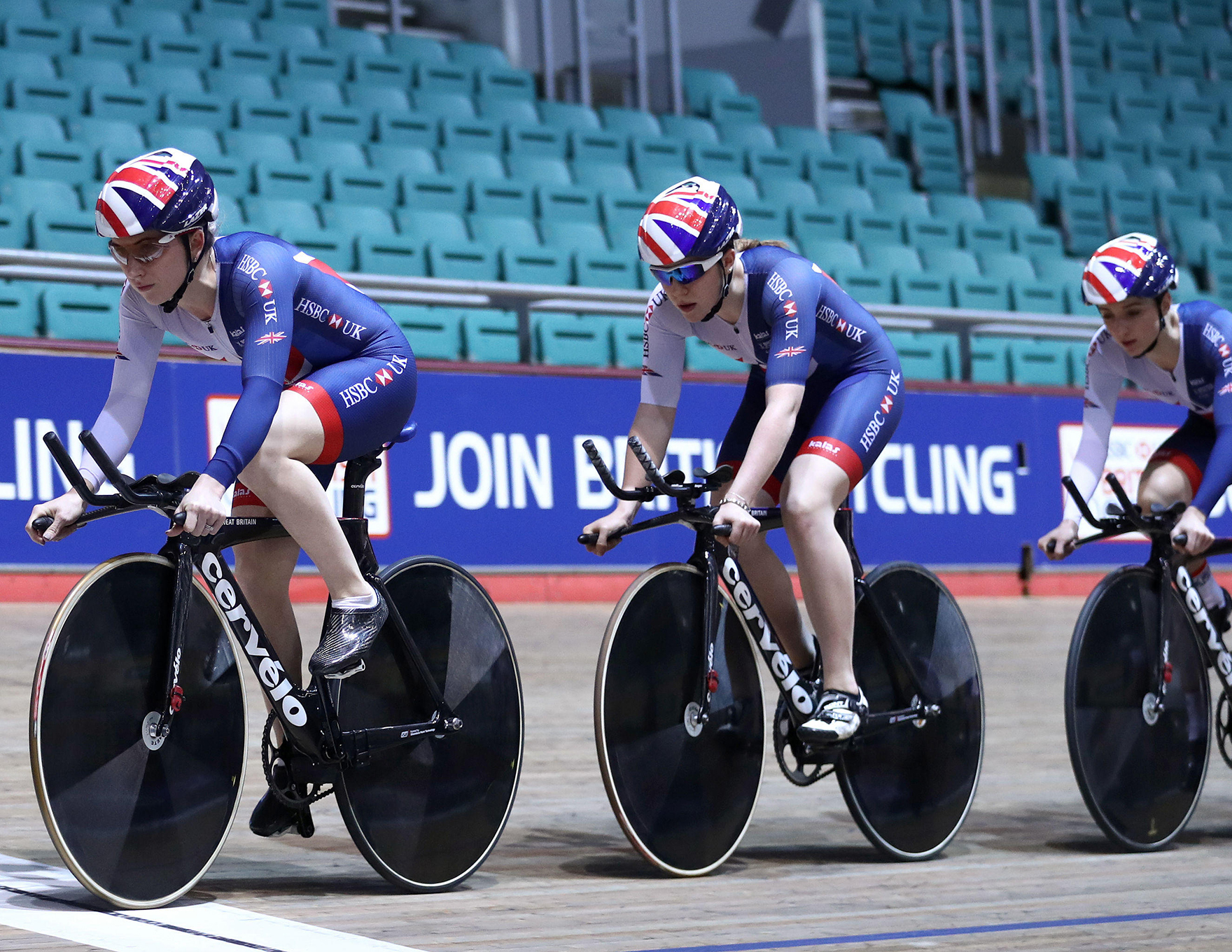 Laura Kenny And Team Gb Training At Mancehster National Cycling Centre L