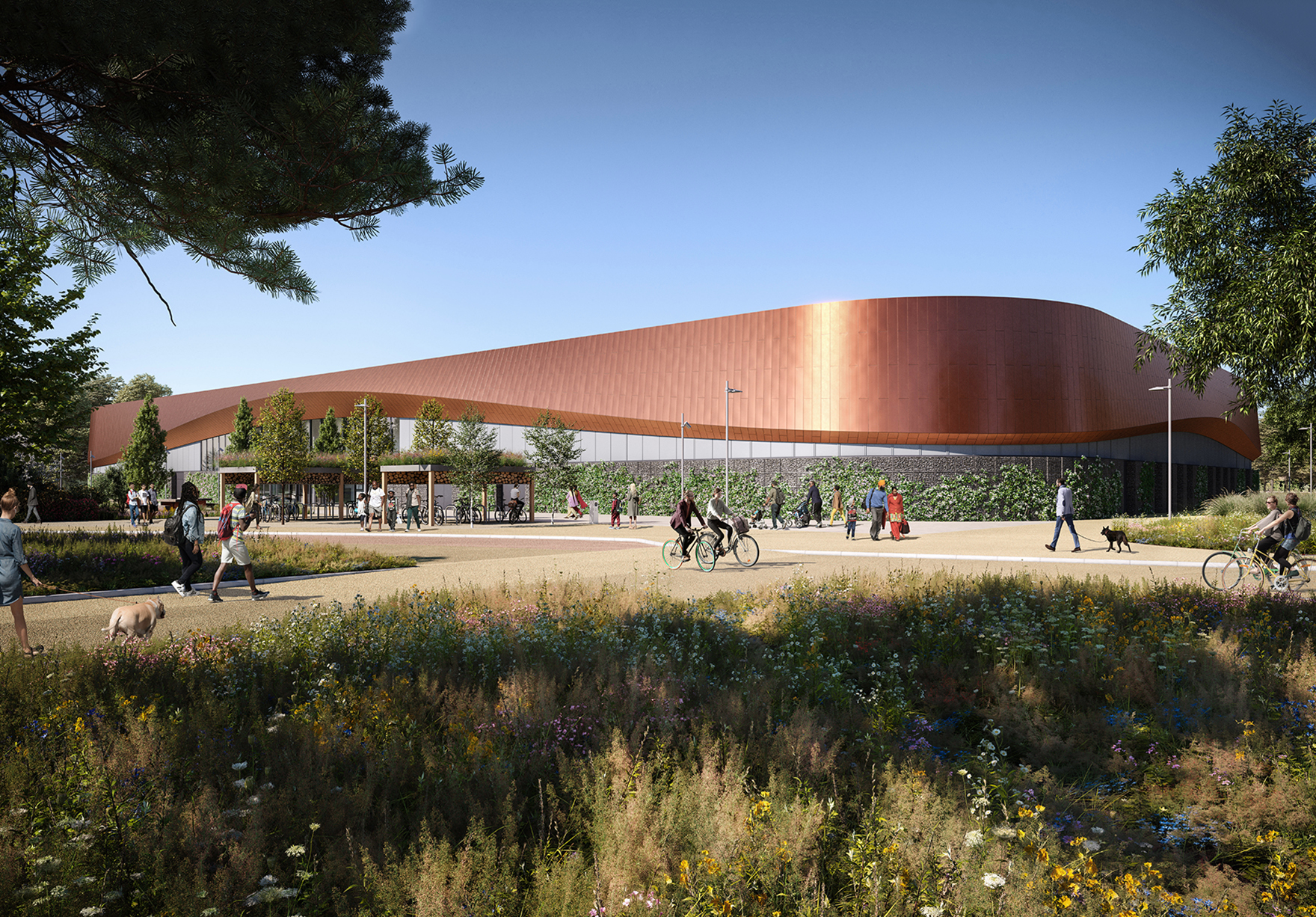 Lee Valley Ice Centre Twin Pad Olympic Rink Faulknerbrowns Architects Sport Leisure Front Elevation Landscape Lh