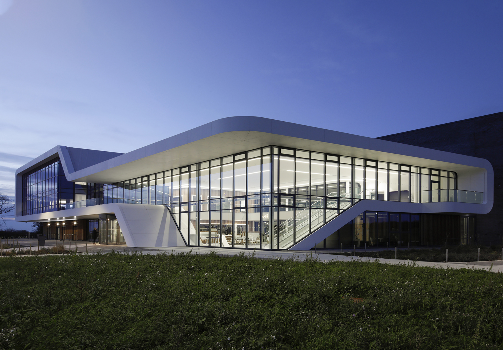 Menai Science Park Anglesey Wales Incubator Labs Offices Open Innovation Space At Night Lh