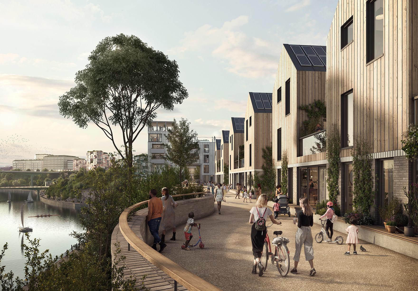 Riverside Sunderland Masterplan Faulknerbrowns Architects Riverside Homes Render Lh