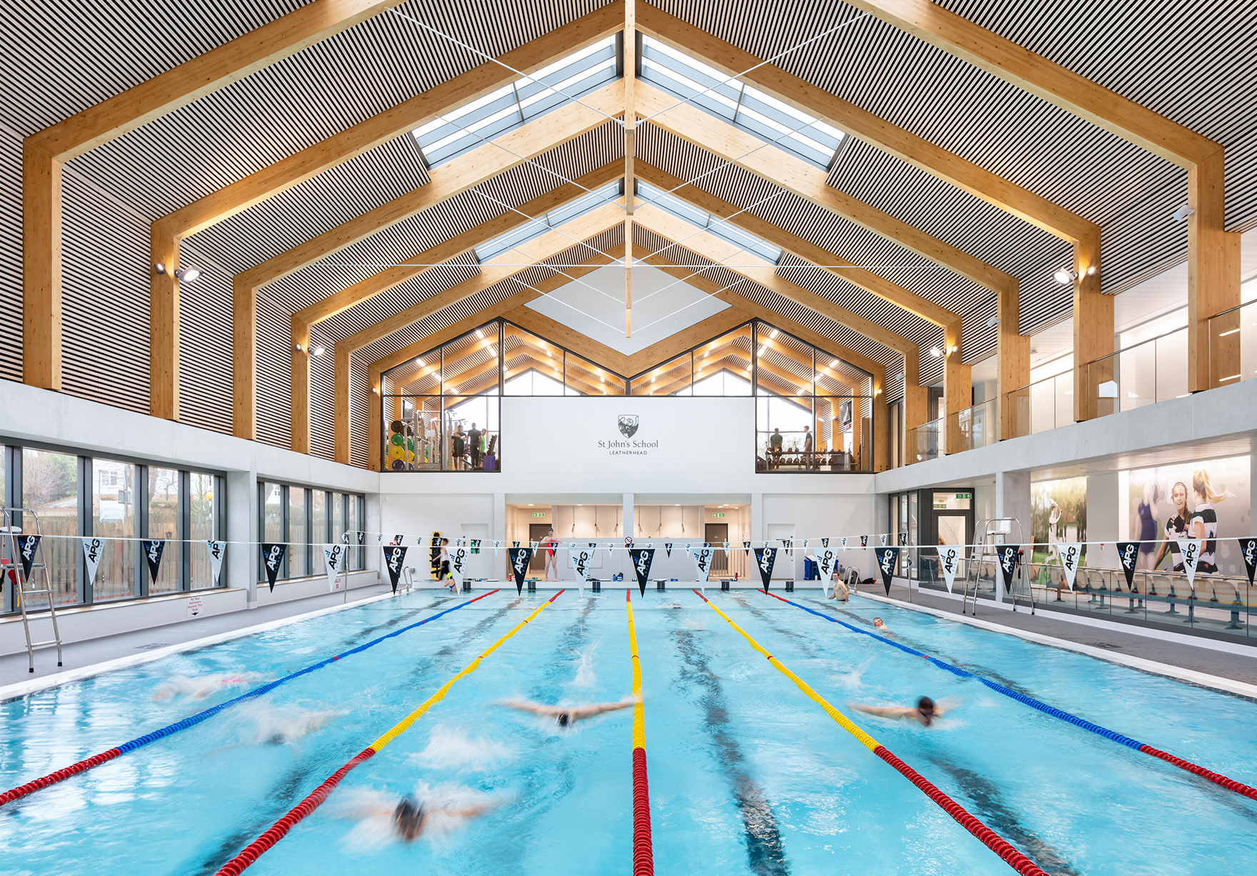 St Johns School Sports Centre Faulknerbrowns Architects Education Sport Pool Hall Towards Gym Lh