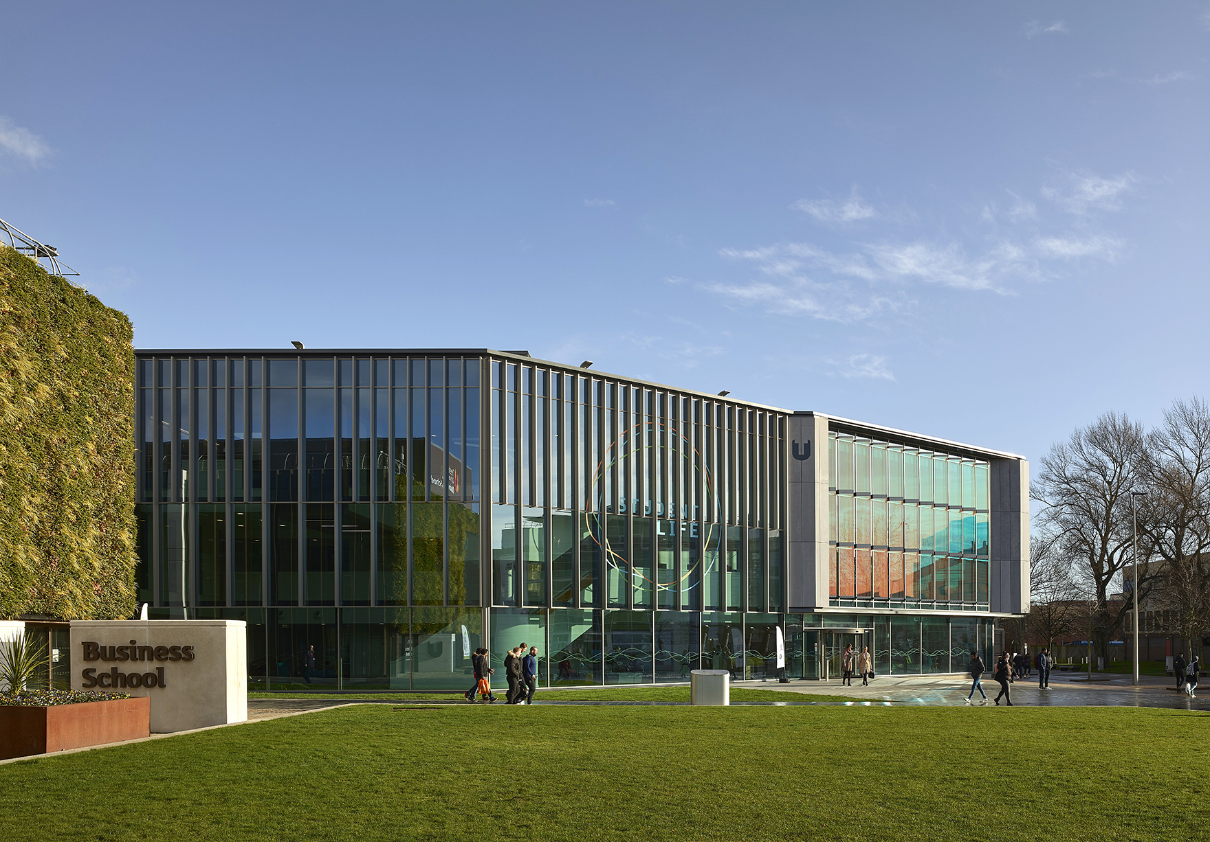 Student Life Building Rics Social Impact Award Faulknerbrowns Architects Education Front Elevation Across Campus Heart Lh