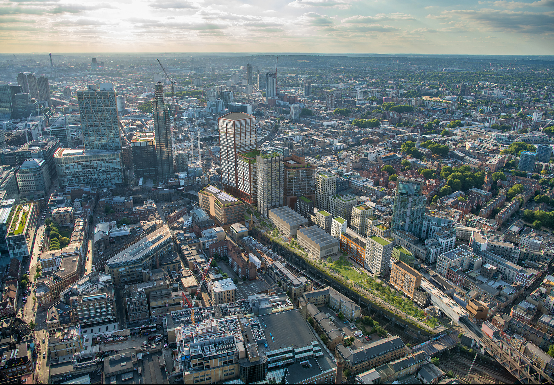 The Goodsyard Mixed Use Masterplan Faulknerbrowns Architects Site Aerial Office Residential Hotel Culture Lh