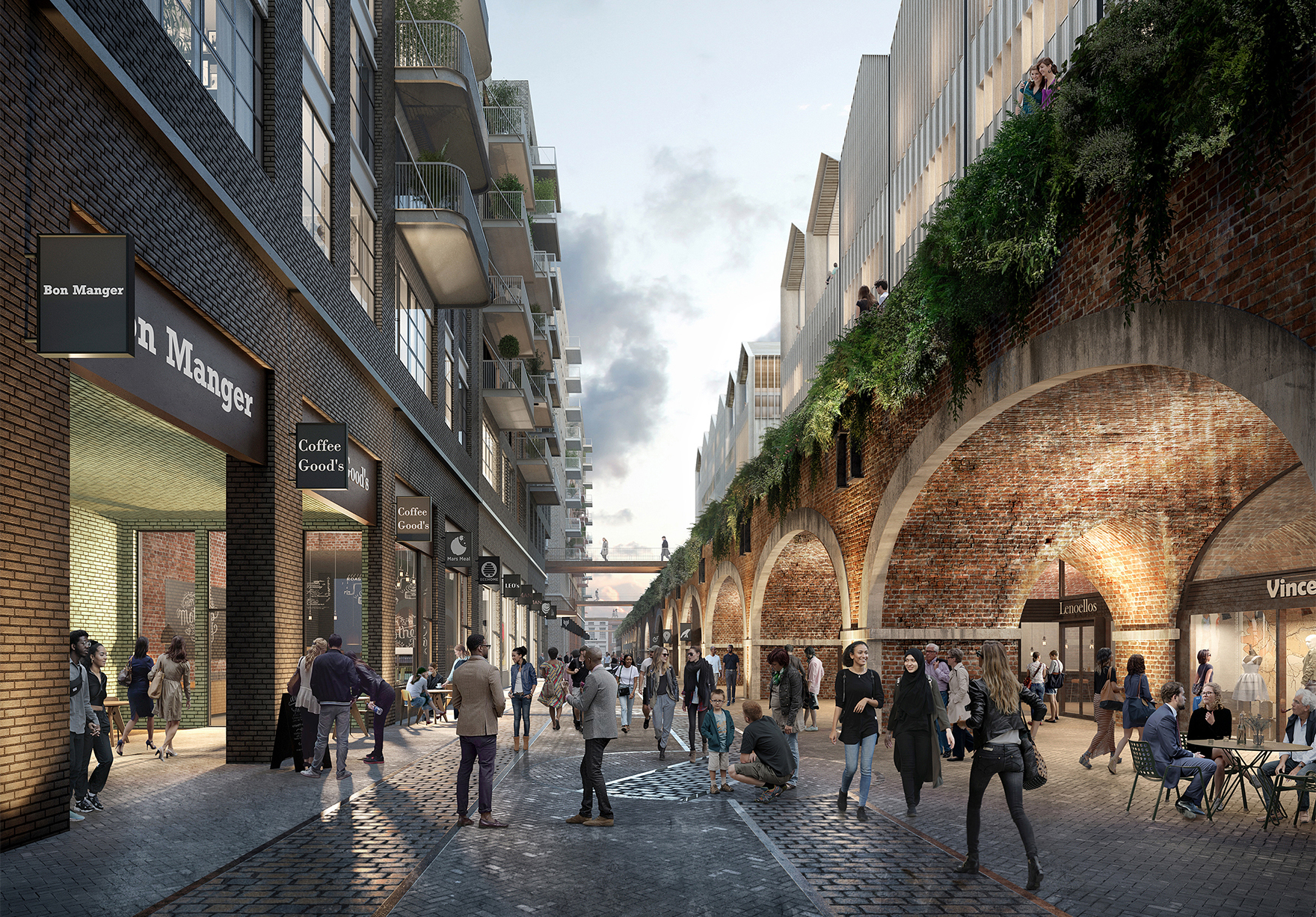 The Goodsyard Shoreditch London Masterplan Faulknerbrowns Architects View Along Arches Lh