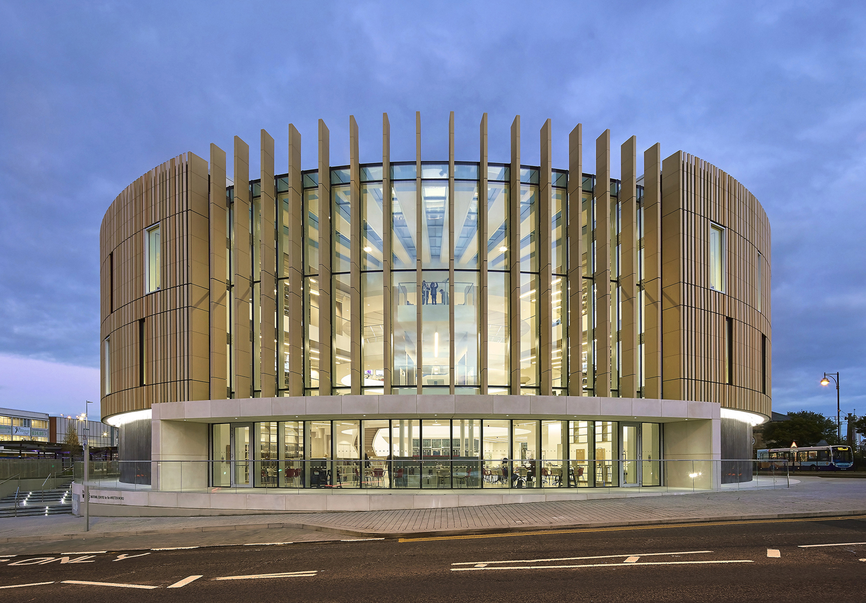 The Word South Shields Circular Building Entrance Facade At Dusk Lh