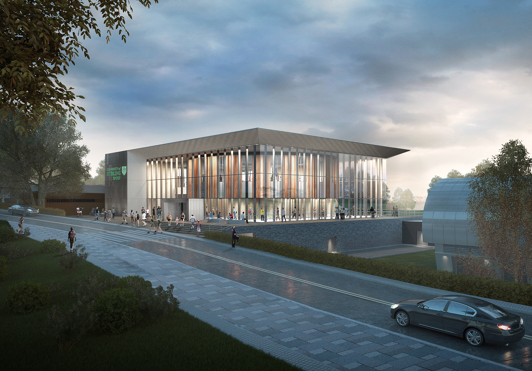 University Of Stirling Sports Centre View From University Road West Faulknerbrowns Architects Lh