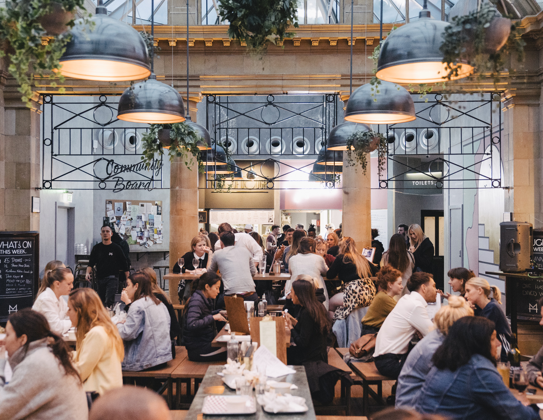 Market Hall Fulham Food Hall Busy With Customers Enjoying Food And Drink L
